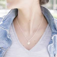 disc charm necklace with engraving round pendant