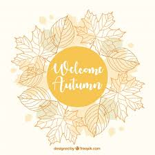 pretty autumn background with a fl frame free vector