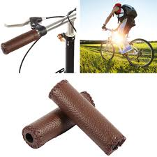 1 pair three colors retro artificial leather bicycle handlebar grips bike handle cover grips bike handle cover leather handle bar com