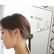 South <b>Korea Earrings Jewelry</b> Cube Square <b>Earrings</b> For Women All ...