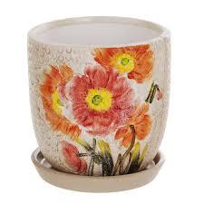 <b>Горшок цветочный Dehua</b> ceramic Orange Flower 18x18x16 см ...