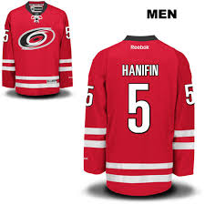Nhl 5 Mens Reebok Authentic Stitched Red Hurricanes Hanifin Carolina Home No Noah Jersey