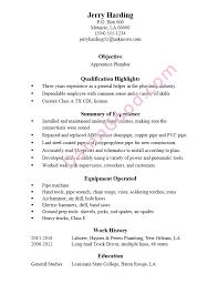 Resume Sample Apprentice Plumber