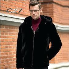 faux fur hoo mens classic black hooded faux fur coat winter warm coat and jacket fashion slim fur mens black faux fur hoo
