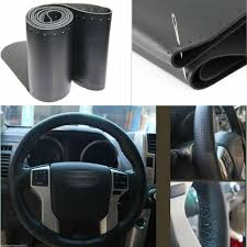 car auto diy black genuine leather steering wheel cover wrap sew on kit 38cm 2 2 of 5