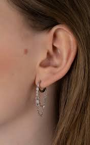Huggie Hoop Earrings Size Chart Platinum Plated Cz Drop With Looped Chain Huggie Hoop Earring By Epitome Jewellery