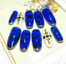 ヤフオク 498ネイルチップロングサイズ変更無料青 黒