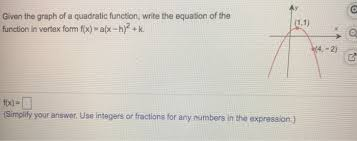 given the graph of a quadratic function