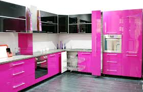 Floating Floors For Kitchens Stunning Modern Open Kitchen Design With Pink Gloss Kitchen
