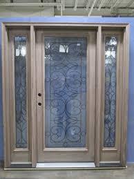 jeld wen walnut door sidelights with decorative glass