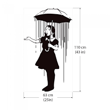 on girl with umbrella wall art with banksy nola girl with the umbrella vinyl wall art decal