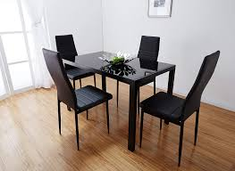 black glass dining table set with faux leather chairs brand new room kitchen home round white and small top dinette sets dinner tables breakfast metal