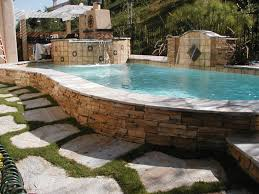 custom inground pools. Raised Pool And Spa With Ledger Stone Sheer Descent Water Feature Custom Inground Pools L