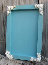 beach wedding sea shell decorated painted sand box for guest favors like sand dollar or starfish