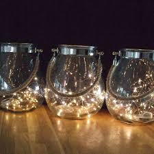 Lights For Glass Vases Trinity Large Glass Rope Handle Vase With Copper String Lights