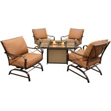 hanover summer nights 5 piece metal patio conversation set with tile top fire pit