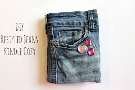 diy no sew recycled jeans kindle cozy