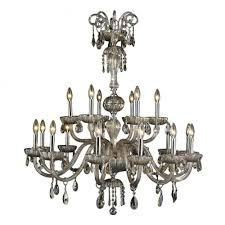 carnivale collection 18 light chrome finish and golden teak crystal chandelier two 2 tier 36