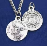 law enforcement jewelry saint michael round pewter pendant