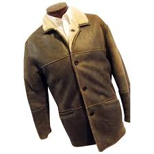 vintage aston leather ny mens distressed coat lambsfur shearling med the sampler antiques ruby lane