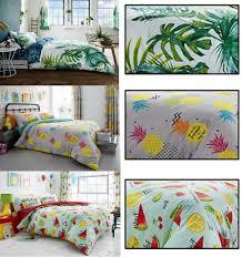 tropical leaf tutti frutti pineapple duvet covers reversible luxury bedding set