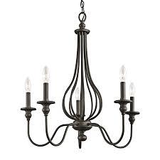 kichler kensington 25 in 5 light olde bronze wrought iron candle chandelier