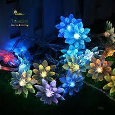 40 LED <b>Lotus Flowers</b> Lamp Battery Operated <b>String</b> Light <b>Fairy</b> ...