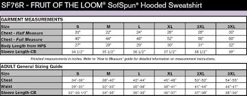 Fruit Of The Loom Sweatshirt Size Chart Fruit Of The Loom Sofspun Hooded Sweatshirt