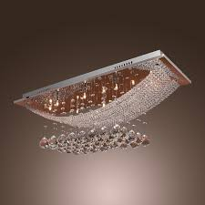 modern polished chrome flush mount crystal chandelier with led light