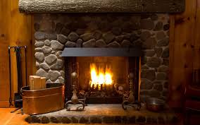 a bright fire in the fireplace