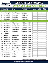 Seattle Seahawks Football Schedule 2017 Nfl Football Schedule 2017
