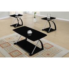 Coffee Table Set Of 3 Poundex 3 Pcs Table Set In Black F3092