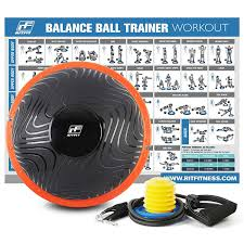 Ritfit Balance Ball Trainer For Yoga Fitness Strength Exercise With Air Pump Resistance Bands And Free Exercise Wall Chart