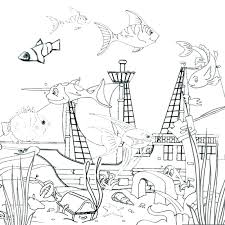 Ocean Coloring Sheet Marine Page Pages Printable Fish Life Waves For