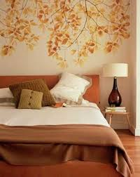 orange bedroom wallpaper and bedding