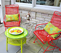 painting metal furniture. brightly colored spray painted outdoor patio furniture by serendipity refined gonna paint our old wrought iron in some fun colors painting metal