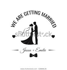 Wedding Invitation Vector Silhouette Bride Groom Stock Vector