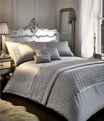 king size luxury duvet set new silver grey
