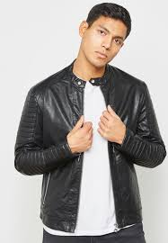 ribbed leather er jacket