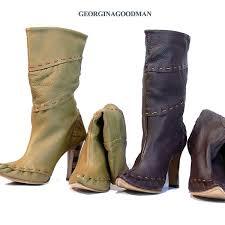 クシュクシュブーツ leather boots real leather two colors of khaki bordeaux