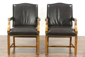 vintage leather office chair. pair of vintage leather library or office chairs with arms, signed taylor chair l