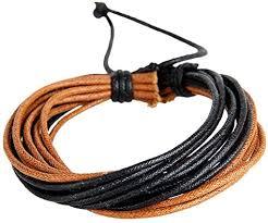 efigo Stylish Leather Rope Bracelet Layered Braided ... - Amazon.com