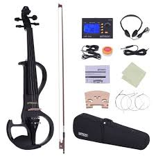ammoon <b>Full Size 4/4 Solid</b> Wood Electric Silent Violin Fiddle Style ...