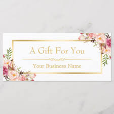 Gift Certificate Designer Chic Floral Gold Beauty Salon Gift Certificate