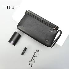 ht vintage designer purse cowhide men clutch bags genuine leather long zipper wrist wallet phone card