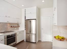 Amazing White Gloss Kitchen Cabinetry Set Also Chrome Refrigerator Shelves  As Decorate In Small All White Kitchen Designs
