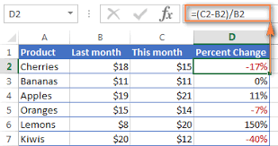 how to calculate percene in excel