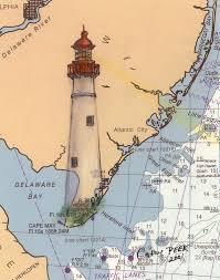 Cape May Lighthouse Nj Nautical Chart Map Art Cathy Peek Art Print
