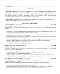 Sample Executive Assistant Resume Professional Administrative