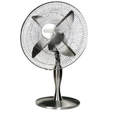 DeLonghi VLT2001 40cm Brushed Metal Desk Fan at The Good Guys
